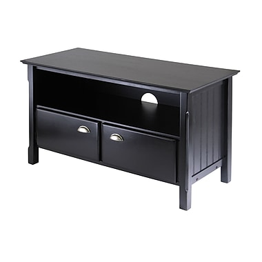 Winsome Timber TV Stand with Two Sliding Doors, Black