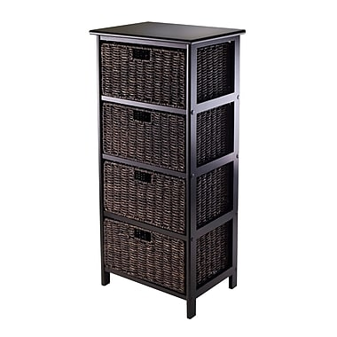 Winsome Omaha Storage Rack with 4 Foldable Baskets, Black