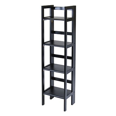 Winsome 4-Tier Folding Shelf, Narrow, Black