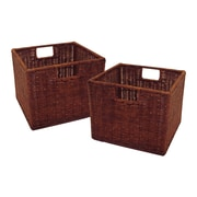 Winsome Leo Wired Basket, Small, Espresso, 2/Pack