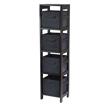 Winsome Capri 4-Section N Storage Shelf with 4 Foldable Black Fabric Baskets, Espresso