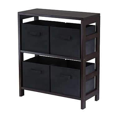 Winsome Capri 2-Section M Storage Shelf with 4 Foldable Black Fabric Baskets, Espresso