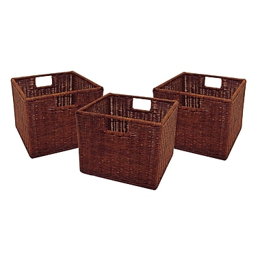 Winsome Leo Wired Baskets, Small, Espresso, 3/Pack