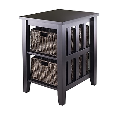 Winsome Morris Side Table with 2 Foldable Baskets, Espresso