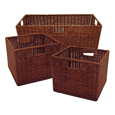 Winsome Leo Wired Baskets, 1 Large and 2 Small, Espresso, 3/Pack