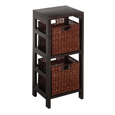 Winsome Leo 3-Piece Shelf and Baskets; One shelf, 2 Small Baskets, Espresso