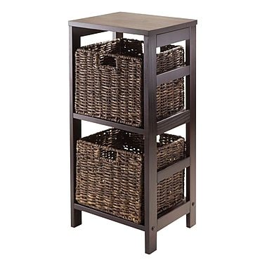 Winsome Granville 3-Piece Storage Shelf with 2 Foldable Baskets, Espresso