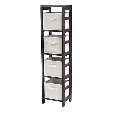 Winsome Capri 4-Section N Storage Shelf with 4 Foldable Beige Fabric Baskets, Espresso