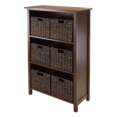 Winsome Granville 7-Piece Storage Shelf, 3-Section with 6 Foldable Baskets, Antique Walnut