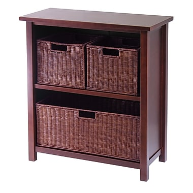 Winsome Milan Cabinet/Shelf with 3 Baskets, Antique Walnut