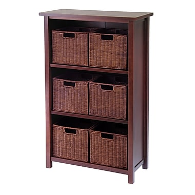 Winsome Milan Cabinet/Shelf with Baskets; 6 Small, Antique Walnut