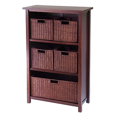 Winsome Milan Cabinet/Shelf and Baskets; Shelf, 1 Large Basket, 4 Small Baskets, Antique Walnut