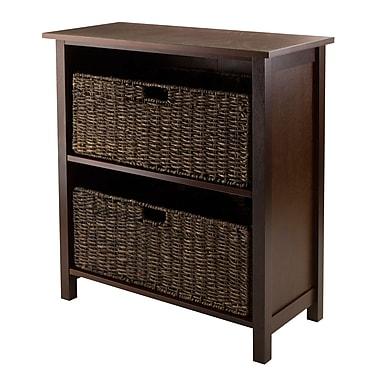 Winsome Granville 3-Piece Storage Shelf with 2 Foldable Baskets, Antique Walnut