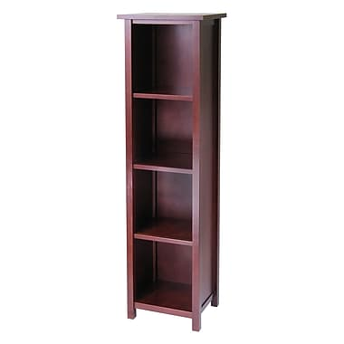 Winsome Milan Storage Shelf or Bookcase 5-Tier, Tall, Antique Walnut