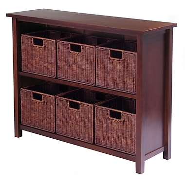 Winsome Milan Storage Shelf with Baskets; One Cabinet and 6 Small Baskets; 3 cartons, Antique Walnut