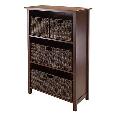 Winsome Granville 5-Piece Storage Shelf with 4 Foldable Baskets, Antique Walnut