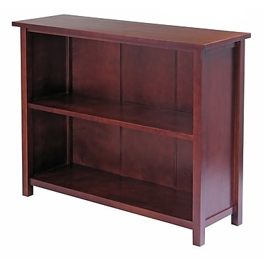 Winsome Milan Storage Shelf or Bookcase, 3-Tier, Long, Antique Walnut