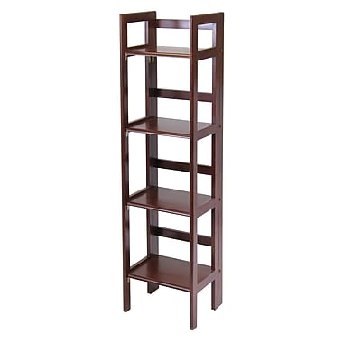 Winsome 4-Tier Folding Shelf, Narrow, Antique Walnut