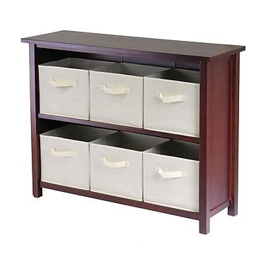 Winsome Verona 2-Section W Storage Shelf with 6 Foldable Beige Fabric Baskets, Antique Walnut