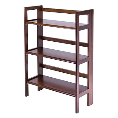 Winsome 3-Tier Folding and Stackable Shelf, Antique Walnut