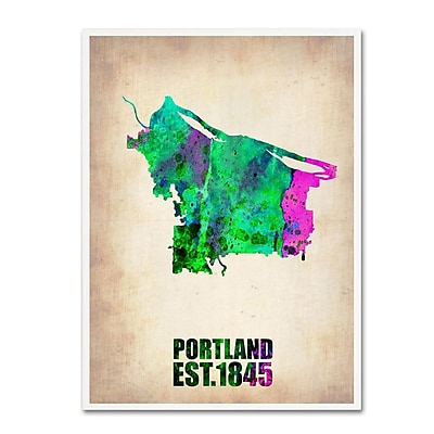 Trademark Fine Art 'Portland Watercolor Map' 18