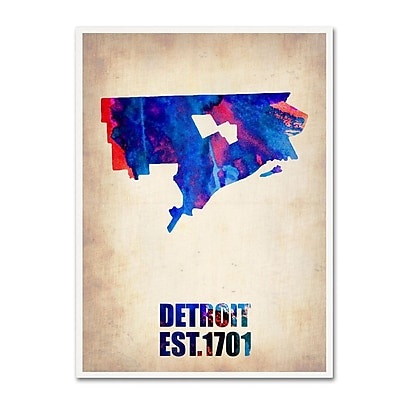 Trademark Fine Art 'Detroit Watercolor Map' 14