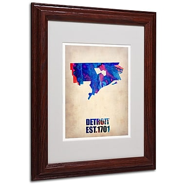 Trademark Fine Art 'Detroit Watercolor Map' 11