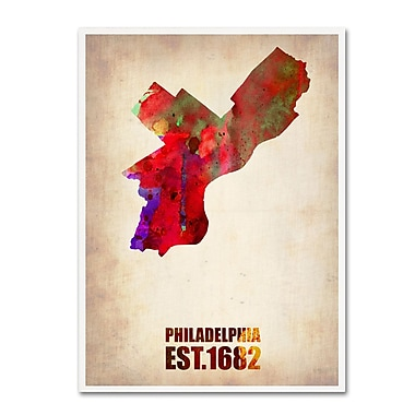 Trademark Fine Art 'Philadelphia Watercolor Map' 18