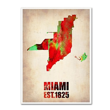 Trademark Fine Art 'Miami Watercolor Map' 24