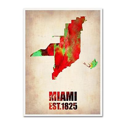 Trademark Fine Art 'Miami Watercolor Map' 14