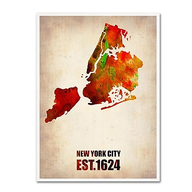 Trademark Fine Art 'New York City Watercolor Map 2' 18
