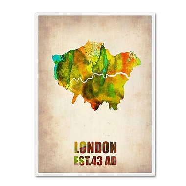 Trademark Fine Art 'London Watercolor Map' 14
