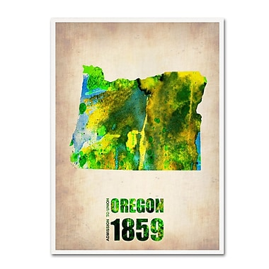 Trademark Fine Art 'Oregon Watercolor Map' 35
