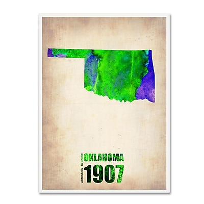 Trademark Fine Art 'Oklahoma Watercolor Map' 18