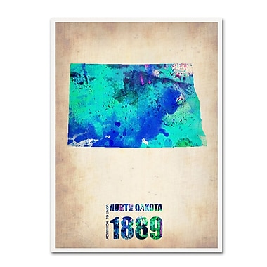 Trademark Fine Art 'North Dakota Watercolor Map' 24