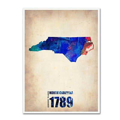 Trademark Fine Art 'North Carolina Watercolor Map' 14