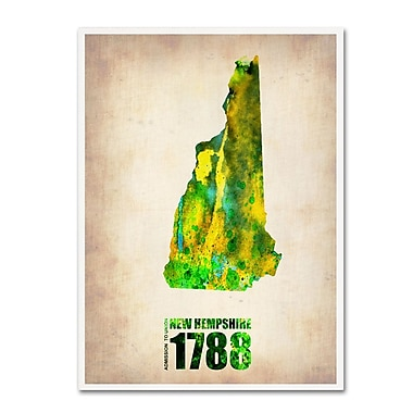 Trademark Fine Art 'New Hampshire Watercolor Map' 24
