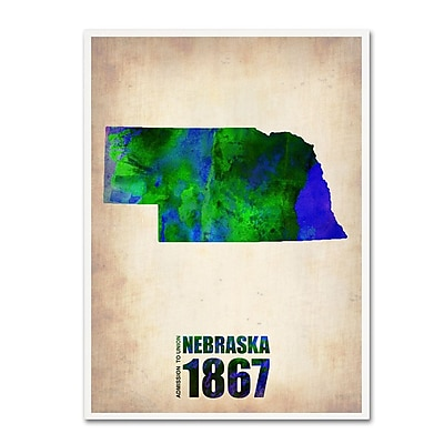 Trademark Fine Art 'Nebraska Watercolor Map' 14