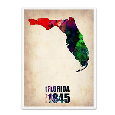 Trademark Fine Art 'Florida Watercolor Map' 35