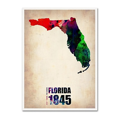 Trademark Fine Art 'Florida Watercolor Map' 14