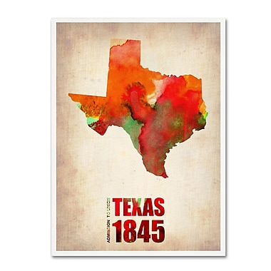 Trademark Fine Art 'Texas Watercolor Map' 24