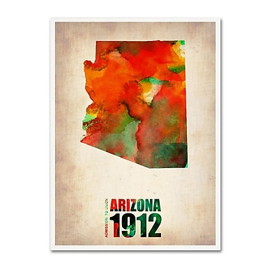 Trademark Fine Art 'Arizona Watercolor Map' 18