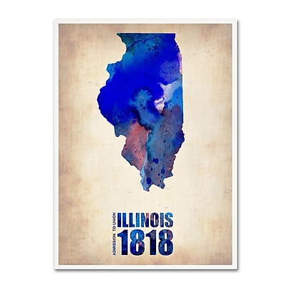 Trademark Fine Art 'Illinois Watercolor Map' 18