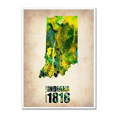 Trademark Fine Art 'Indiana Watercolor Map' 35