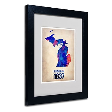 Trademark Fine Art 'Michigan Watercolor Map' 11