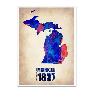 Trademark Fine Art 'Michigan Watercolor Map' 18
