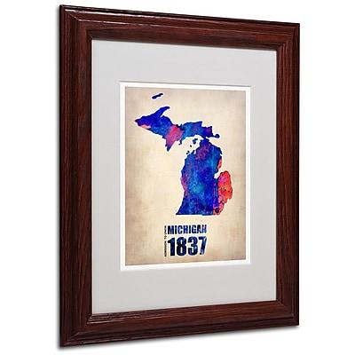 Trademark Fine Art 'Michigan Watercolor Map' 11