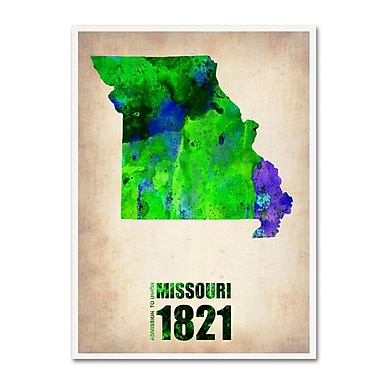 Trademark Fine Art 'Missouri Watercolor Map' 14
