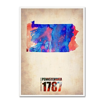 "Trademark Fine Art 'Pennsylvania Watercolor Map' 24"" x 32"" Canvas Art"