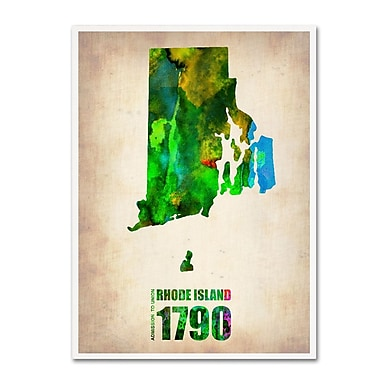 Trademark Fine Art 'Rhode Island Watercolor Map' 14